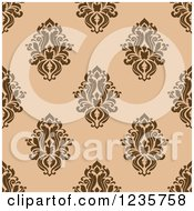 Clipart Of A Seamless Brown And Tan Damask Background Pattern Royalty Free Vector Illustration