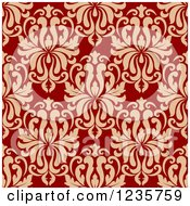 Clipart Of A Seamless Red And Tan Damask Background Pattern 2 Royalty Free Vector Illustration