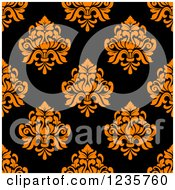 Clipart Of A Seamless Orange And Black Damask Background Pattern Royalty Free Vector Illustration
