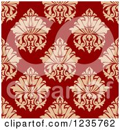 Clipart Of A Seamless Red And Tan Damask Background Pattern 3 Royalty Free Vector Illustration