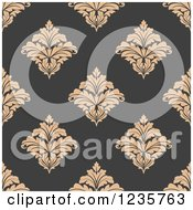 Clipart Of A Seamless Tan And Gray Damask Background Pattern Royalty Free Vector Illustration