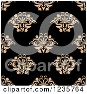 Clipart Of A Seamless Tan And Black Damask Background Pattern Royalty Free Vector Illustration