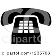 Clipart Of A Black And White Desk Telephone Office Icon Royalty Free Vector Illustration