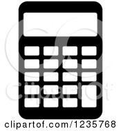 Clipart Of A Black And White Calculator Office Icon Royalty Free Vector Illustration