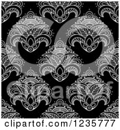 Clipart Of A Seamless Black And White Henna Lotus Flower Pattern 4 Royalty Free Vector Illustration