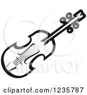Clipart Of A Black And White Violin Royalty Free Vector Illustration