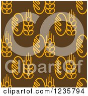Clipart Of A Seamless Bread And Grain Background Pattern Royalty Free Vector Illustration