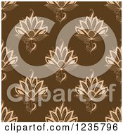 Clipart Of A Seamless Tan And Brown Henna Lotus Flower Pattern Royalty Free Vector Illustration