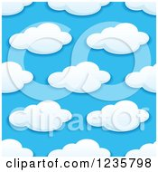 Clipart Of A Seamless Puffy White Cloud And Blue Sky Background Pattern Royalty Free Vector Illustration by Vector Tradition SM