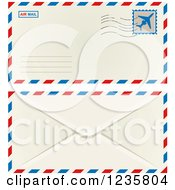 Clipart Of An International Mail Envelope Shown Front And Back Royalty Free Vector Illustration