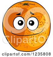 Clipart Of An Orange Character Royalty Free Vector Illustration