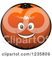 Clipart Of A Smiling Orange Character Royalty Free Vector Illustration