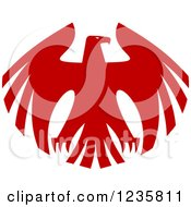 Clipart Of A Flying Red Hawk Royalty Free Vector Illustration