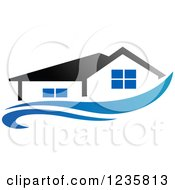 Clipart Of A Home Over A Blue Swoosh Royalty Free Vector Illustration