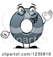 Clipart Of A Happy Gray Number Zero Getsuring 0 Royalty Free Vector Illustration