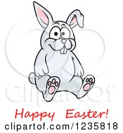 Clipart Of A Happy Easter Greeting Under A Gray Bunny Rabbit Royalty Free Vector Illustration by Vector Tradition SM