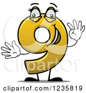 Clipart Of A Happy Yellow Number Nine Holding Up 9 Fingers Royalty Free Vector Illustration