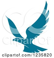 Clipart Of A Flying Teal Hawk Royalty Free Vector Illustration