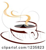 Clipart Of A Brown Cafe Coffee Cup With Steam 47 Royalty Free Vector Illustration