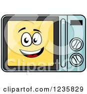 Clipart Of A Happy Microwave Character Royalty Free Vector Illustration