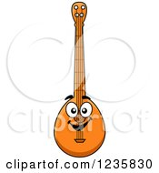Clipart Of A Happy Banjo Character Royalty Free Vector Illustration