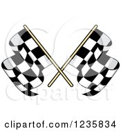 Clipart Of Crossed Checkered Racing Flags 2 Royalty Free Vector Illustration