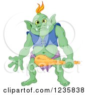 Clipart Of A Happy Green Troll Holding A Club Royalty Free Vector Illustration