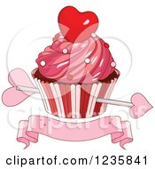 Clipart Of Cupids Arrow Through A Valentine Cupcake Over A Banner Royalty Free Vector Illustration by Pushkin