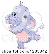 Clipart Of A Cute Purple Baby Elephant Dancing Royalty Free Vector Illustration by Pushkin
