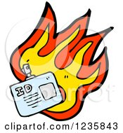 Clipart Of A Burning ID Badge Royalty Free Vector Illustration