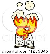 Clipart Of A Burning Book Royalty Free Vector Illustration by lineartestpilot