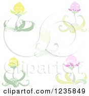 Clipart Of Lotus Flowers Royalty Free Vector Illustration