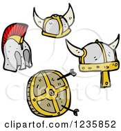 Clipart Of Viking Helmets And Target Royalty Free Vector Illustration by lineartestpilot