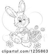 Clipart Of A Black And White Male Easter Bunny Rabbit Walking With A Basket Royalty Free Vector Illustration