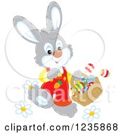 Clipart Of A Gray Male Easter Bunny Walking With A Basket Royalty Free Vector Illustration