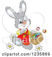 Clipart Of A Gray Male Easter Bunny Rabbit Walking With A Basket Royalty Free Vector Illustration