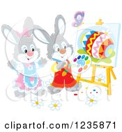 Clipart Of Gray Easter Bunnies Painting Eggs On Canvas Royalty Free Vector Illustration