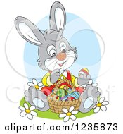 Clipart Of A Gray Bunny Sitting With A Basket Of Easter Eggs Royalty Free Vector Illustration