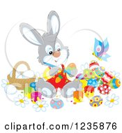 Clipart Of A Gray Male Easter Bunny Painting Eggs Royalty Free Vector Illustration