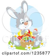 Clipart Of A Gray Bunny Rabbit Sitting With A Basket Of Easter Eggs Royalty Free Vector Illustration