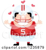 Clipart Of A Caucasian Male Football Player With Open Arms And Hearts Royalty Free Vector Illustration