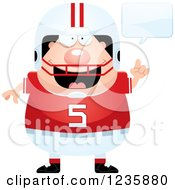 Clipart Of A Talking Caucasian Male Football Player Royalty Free Vector Illustration