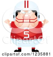 Clipart Of A Mad Caucasian Male Football Player Royalty Free Vector Illustration