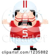 Clipart Of A Scared Screaming Caucasian Male Football Player Royalty Free Vector Illustration