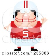 Clipart Of A Friendly Waving Caucasian Male Football Player Royalty Free Vector Illustration by Cory Thoman