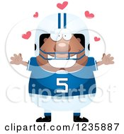 Clipart Of An African American Male Football Player With Open Arms And Hearts Royalty Free Vector Illustration by Cory Thoman