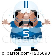 Clipart Of A Scared Screaming African American Male Football Player Royalty Free Vector Illustration by Cory Thoman