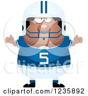 Clipart Of A Careless Shrugging African American Male Football Player Royalty Free Vector Illustration by Cory Thoman