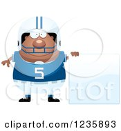 Clipart Of An African American Male Football Player With A Sign Royalty Free Vector Illustration by Cory Thoman