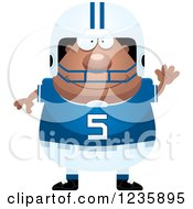 Clipart Of A Friendly Waving African American Male Football Player Royalty Free Vector Illustration by Cory Thoman
